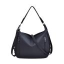 Fashion Plain Double Zipper Leisure Shoulder Tote Bag 33*13*25 CM