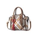 New Fashion Colorblock Striped Plaid Pattern Butterfly Tassel Embellishment Commuter Shoulder Handbag 24*13*21 CM