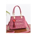 Trendy Plain Hollow Hole Pearl Tassel Embellishment Shoulder Handbag 28*14*22 CM