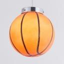 Sports Basketball Shape Pendant Light 1 Head Glass Hanging Light in Orange for Nursing Room