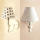 Fabric Tapered Shade Sconce Light Kids Bedroom 1 Light Lovely Wall Light with Dottie/Leaf