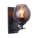 American Rustic Melon Wall Light 1 Light Glass Metal Sconce Light in Black for Kitchen Hallway