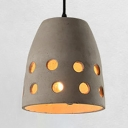 Tapered Shade Restaurant Hanging Light Cement Single Light Antique Style Hanging Lamp in Gray