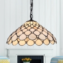 Glass Scalloped Pendant Light Restaurant 1 Light Tiffany Style Hanging Lamp in Beige