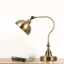 Vintage Dome Shade Study Light 1 Light Metal Rotatable Desk Lamp in Brass for Living Room