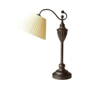 Fabric Fold Tapered Shade Desk Lamp 1 Light Antique Style Study Lighting with Plug In Cord for Bedroom