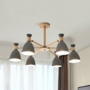 Dome Shade Kindergarten Chandelier Wood 3/6/8 Lights Contemporary Hanging Light in Gray/Green/White