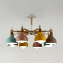 Dining Room Onion Pendant Light Metal 8 Lights Macaron Loft Multi-Color/White Chandelier