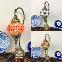 Blue/Colorful/Red Oval Table Light One Light Moroccan Mosaic Stained Glass Hanging Table Lamp for Bar