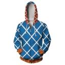 Blue Check Pattern Comic Cosplay Costume Long Sleeve Zip Up Casual Loose Hoodie