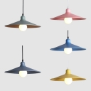 Metal Saucer Shape Hanging Light One Light Macaron Loft Hanging Lamp for Cloth Shop Cafe
