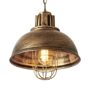 1 Light Domed Pendant Light Industrial Metal Ceiling Pendant in Aged Brass for Factory Shop