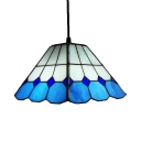 Glass Grid Craftsman Pendant Light 1 Light Traditional Pendant Light in Blue for Dining Room
