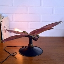 Red Dragonfly Desk Light 1 Light Antique Style Metal Table Light for Girls Boys Bedroom