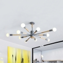 Kid Bedroom Sky Bang Chandelier Metal 6/8/10 Lights Nordic Style Gray/Green Hanging Lamp
