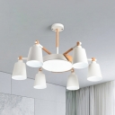 Metal Bucket Round Chandelier 7 Lights Contemporary Hanging Lamp in White for Hotel