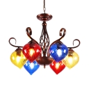 Swirl Glass Heart Pendant Light Dining Room Foyer 6 Lights Moroccan Style Chandelier in Rust