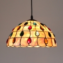Traditional Scalloped Hanging Light with Colorful Beads Shell Beige Pendant Lamp for Hallway