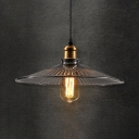 Vintage Style Brass Hanging Lamp Cone Shade 1 Light Fluted Glass Pendant Lamp for Restaurant