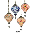 Heart Living Room Pendant Light Pack of 1/4 Stained Glass 1 Light Turkish Hanging Light(not Specified We will be Random Shipments)