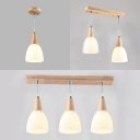 Nordic Style White Pendant Light Domed Shade 1/2/3 Lights Wood Ceiling Pendant for Restaurant