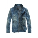 Men's New Fashion Vintage Solid Color Stand Collar Long Sleeve Zip Up Bleach Blue Denim Jacket