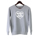 Popular Heart Letter BUN IN THE OVEN Round Neck Long Sleeve Casual Sweatshirt