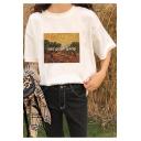 Stylish Van Gogh Gang Oil Painting Print Short Sleeve Loose Fit T-Shirt