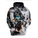 Cool Fire Skull 3D Printed Long Sleeve Casual Sport Unisex Hoodie