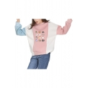 Cute Cartoon Cat Pattern Round Neck Long Sleeve Color Block Sweatshirt