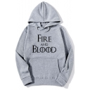 Simple Letter FIRE AND BLOOD Pattern Long Sleeve Sport Loose Hoodie