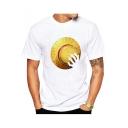 Cool Yellow Comic Hat Pattern Basic Round Neck Short Sleeve White T-Shirt