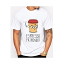 Funny Cartoon Magic Coffee Cup Printed Round Neck Short Sleeve White Tee