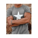 Mens Summer Cool Simple Star Pattern Short Sleeve Round Neck Casual Loose T-Shirt