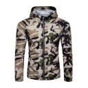 Mens Summer Stylish Camo Printed Hooded Outdoor Quick Drying UV Protection Zip Up Anorak Jacket
