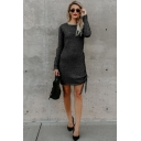 Fashion Simple Plain Round Neck Long Sleeve Lace-Up Tied Side Mini Sheath Dress