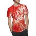 Cool Horror Red Blood Walking Dead Print Short Sleeve Casual Tee