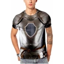 Summer New Fashion Cool 3D Iron Pattern Round Neck Short Sleeve Basic T-Shirt