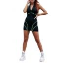Fashion Contrast Piping Zipper Stand Collar Sleeveless Mini Black Bodycon Dress