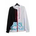 Popular Comic Cloud Printed Color Block Two-Tone Black and White Cotton Zip Up Hoodie