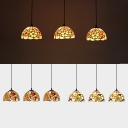 Dining Room Flower/Leaf Hanging Light Stained Glass 3 Heads Tiffany Rustic Ceiling Pendant