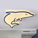 Dolphin Kid Bedroom Ceiling Mount Light Acrylic Animal LED Flush Light in Warm/White/Third Gear