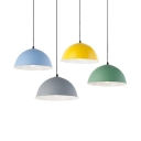 Macaron Colored Domed Suspension Light 1 Light Nordic Style Metal Height Adjustable Ceiling Pendant for Restaurant