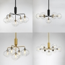 5/7 Heads Sunken Shade Chandelier Contemporary Metal Suspension Light in Black/Gold for Bedroom