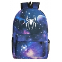 Hot Fashion Spider Galaxy Planet Printed Navy Sports Bag School Backpack with Zipper 31*14*45 CM