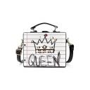 Trendy Letter QUEEN Stripe Crown Printed Rivet Embellishment White Crossbody Satchel Bag 16*19*8 CM
