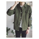 Guys Cool Letter Printed Back Turn-Down Collar Long Sleeve Button-Down Casual Workwear Jacket