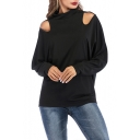 Womens Sexy Cold Shoulder Long Sleeve Simple Plain Black Loose Leisure Sweatshirt
