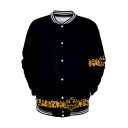 Popular Cartoon Comic Logo Print Rib Stand Collar Casual Loose Black Baseball Jacket