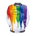 Pride Month Fashion 3D Printed Rib Stand Collar Long Sleeve Button Down Baseball Jacket